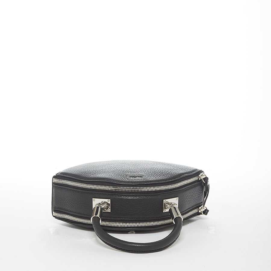 Black leather circle bag | SUSU Handbags