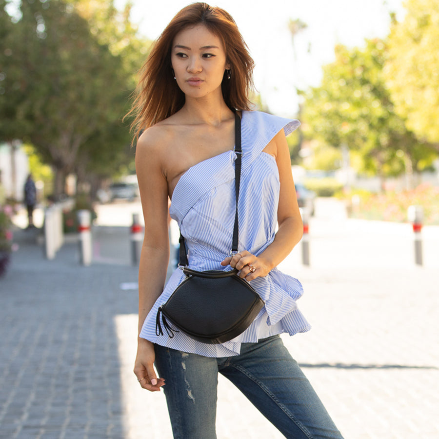 leather circle crossbody bag | SUSU Handbags