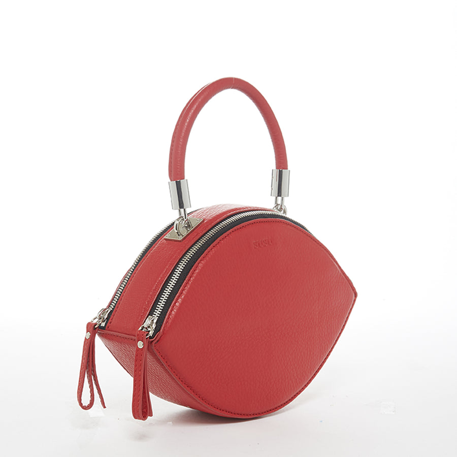 Red leather circle purse | SUSU Handbags