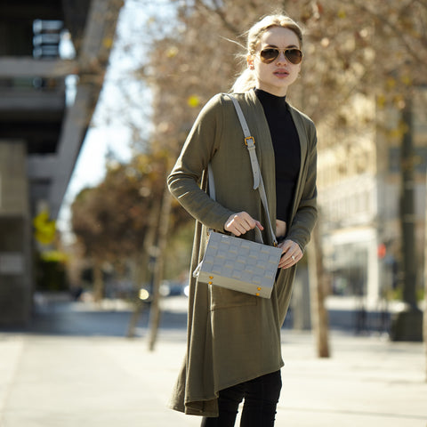 The Manhattan Quilted Leather Boxy Bag Drizzle Grey