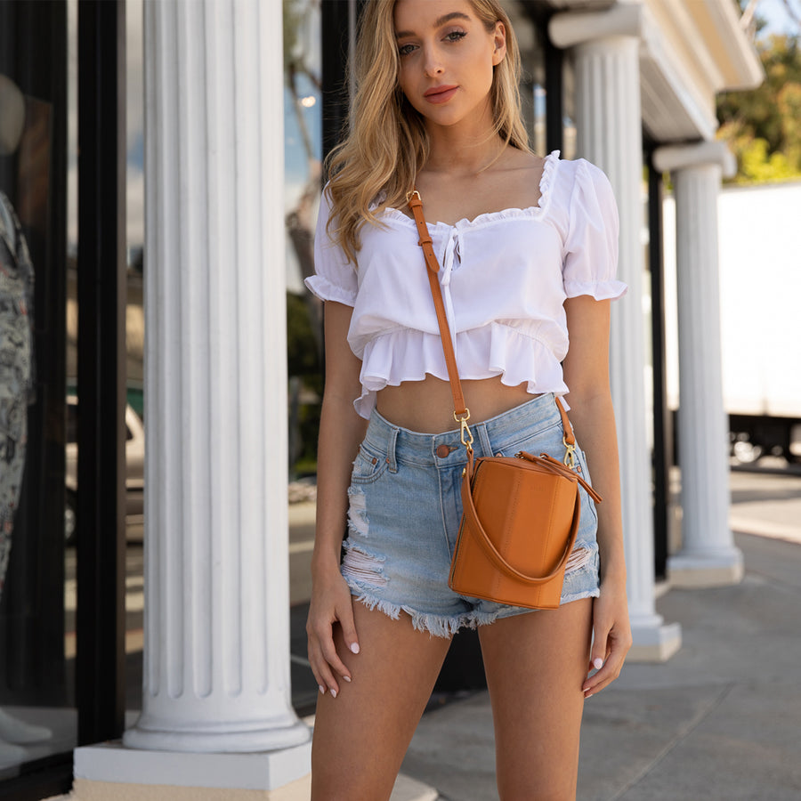 Orange Crossbody Bucket Bag