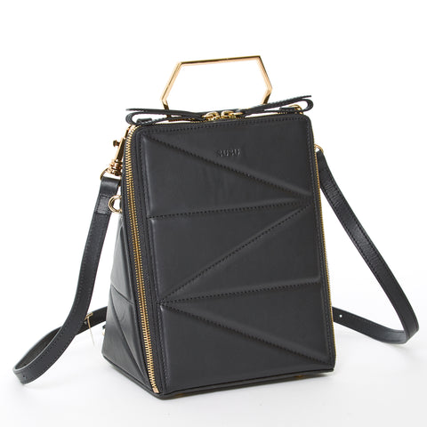 94b5b25a64 The Pyramid Leather Convertible Backpack Crossbody Bag Black ...