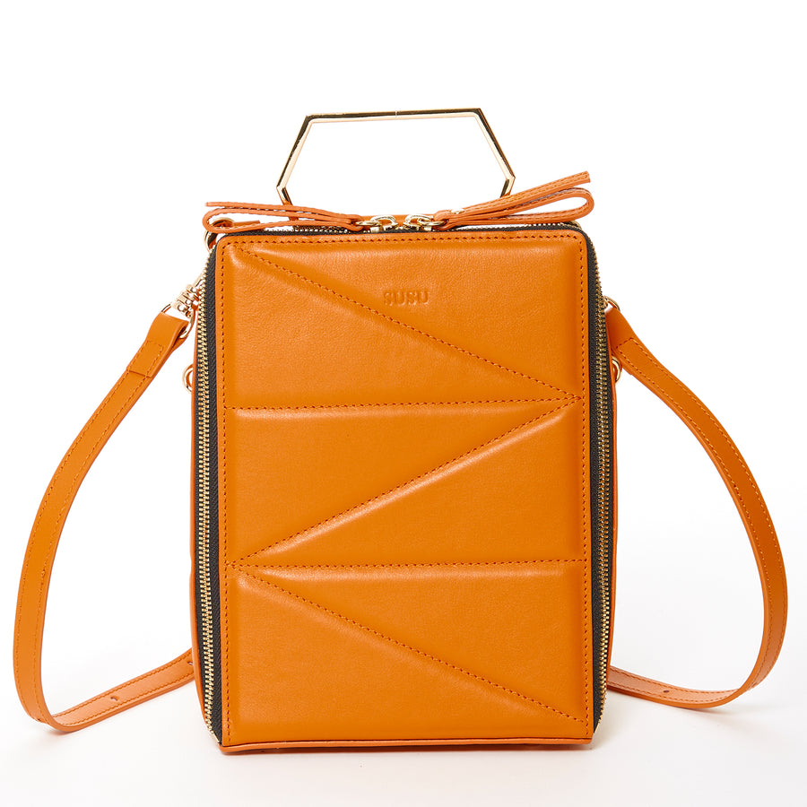 orange leather backpack | SUSU Handbags