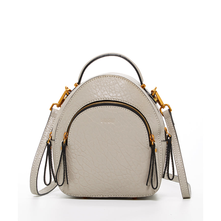 beige leather backpack purse