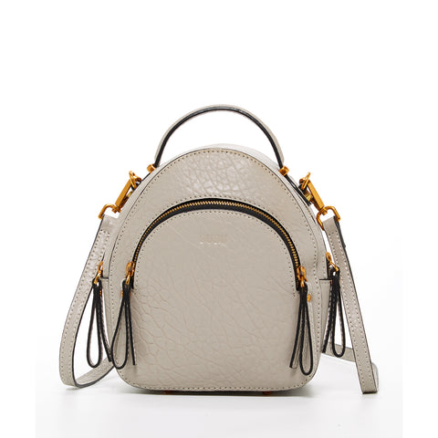 The San Francisco Leather Mini Convertible Backpack Small Crossbody Beige