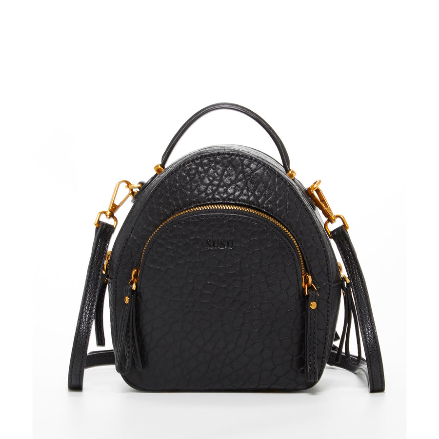 black mini leather backpack | SUSU Handbags