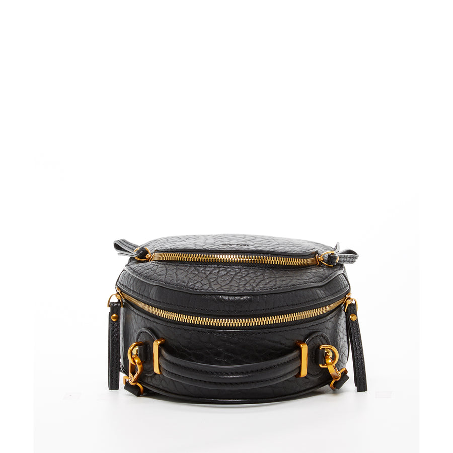black backpack with gold zipper