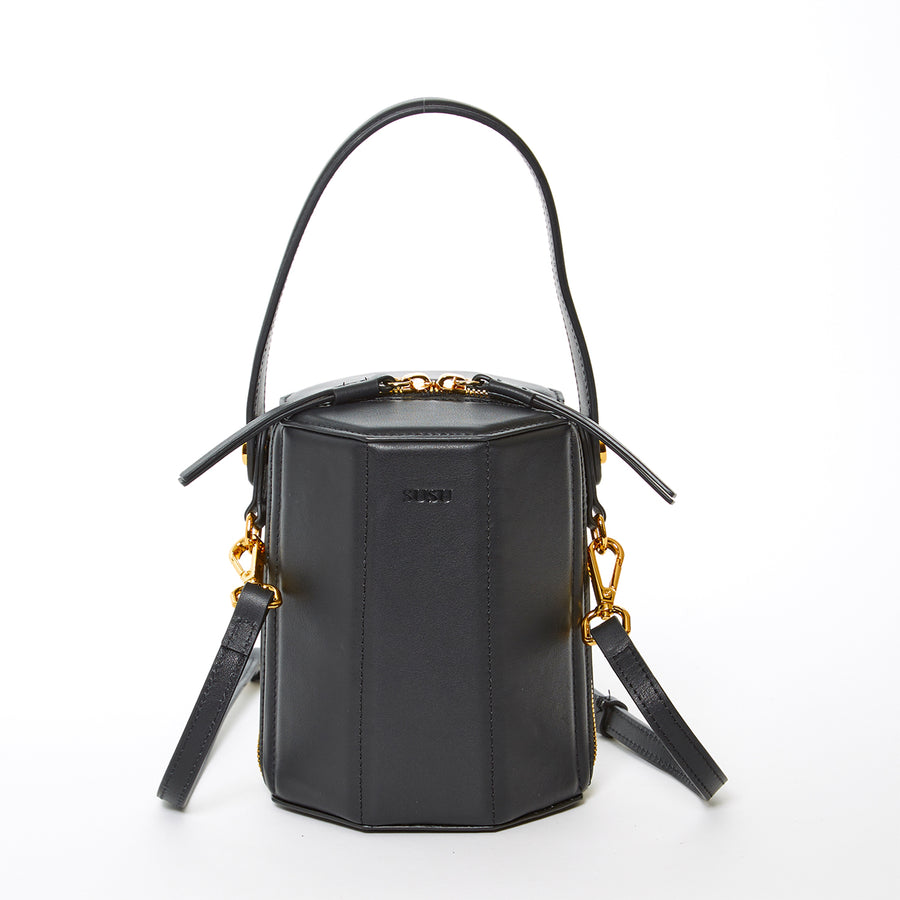 Black Leather Bucket Bag | SUSU Handbags