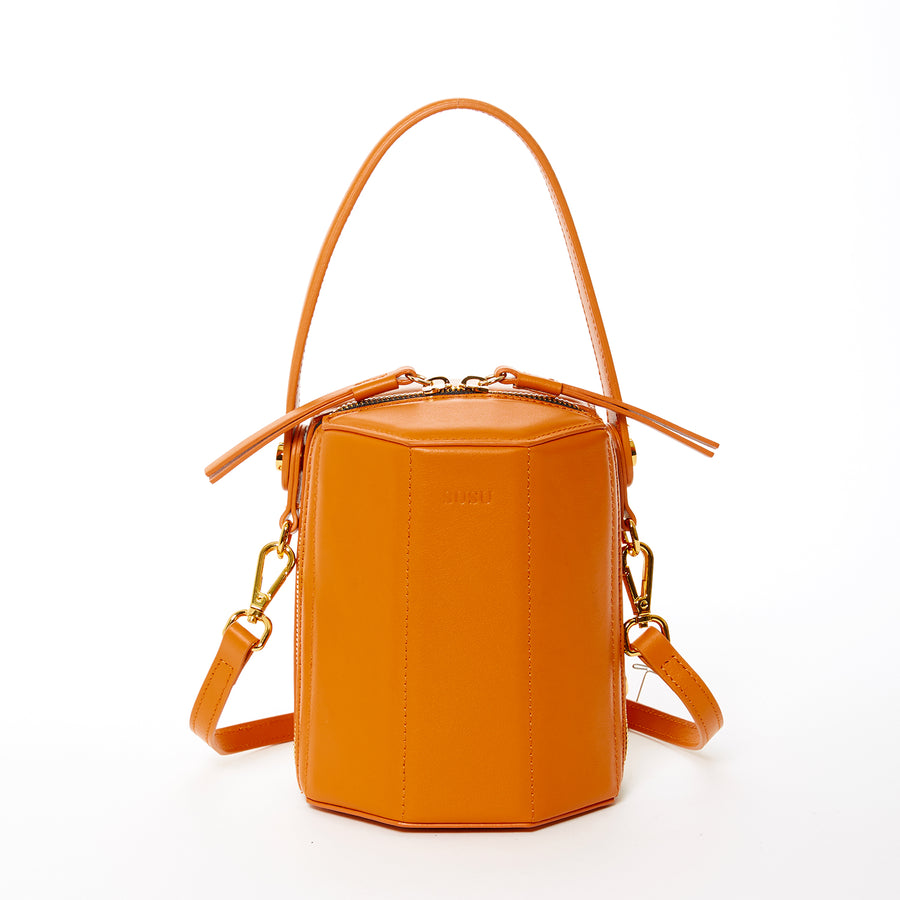 Orange Leather Bucket Bag
