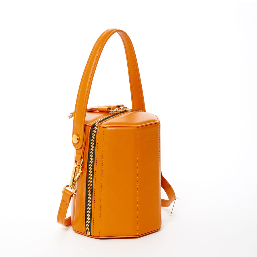 Orange Leather Handbag | SUSU Handbags