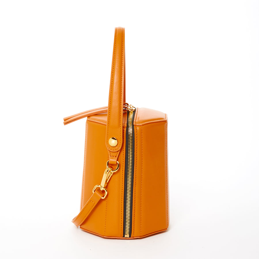 orange peel leather bag