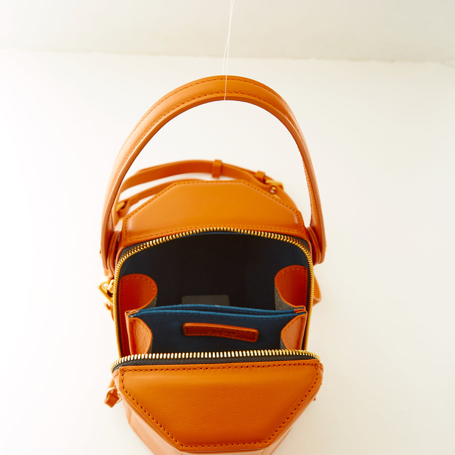 orange leather crossbody bag lining | SUSU Handbags