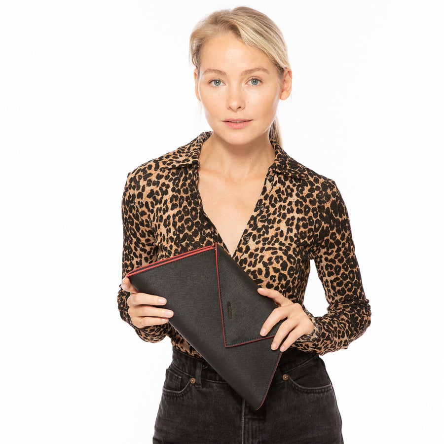 Black Leather Clutch | SUSU Handbags
