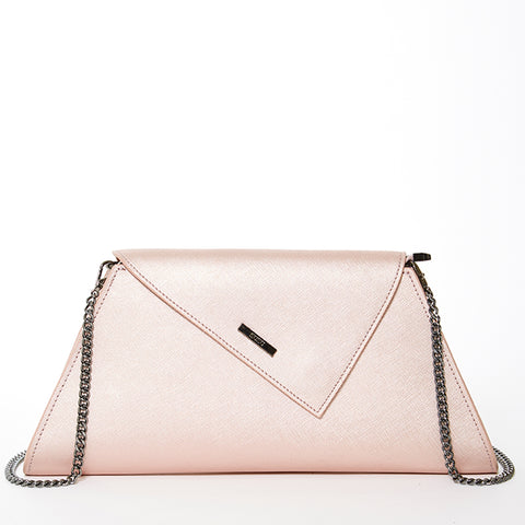 The Angelica Blush Leather Clutch With Shoulder Strap Rose Gold
