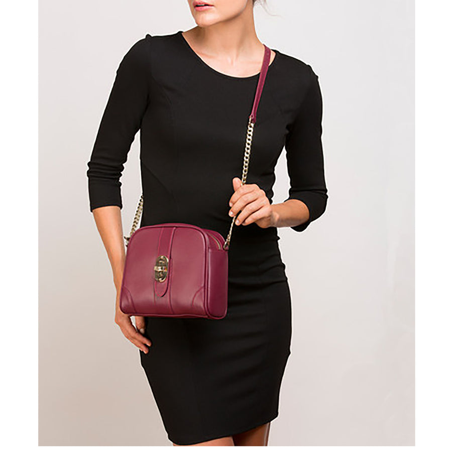 Burgundy Leather Shoulder Bag