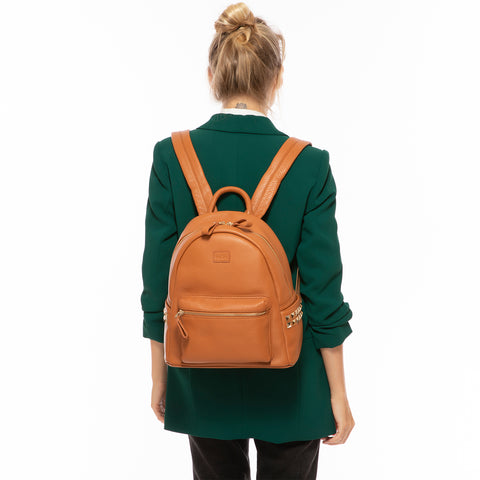 Diana Leather Backpack With Studs Brown