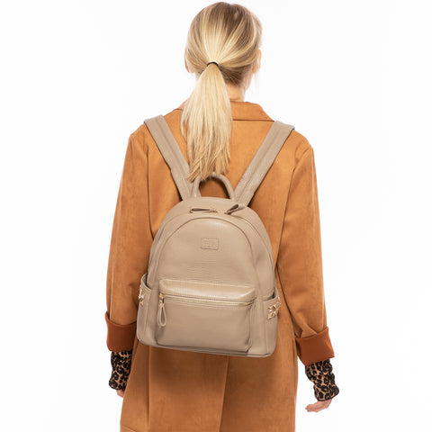 Diana Leather Backpack with Studs Cement