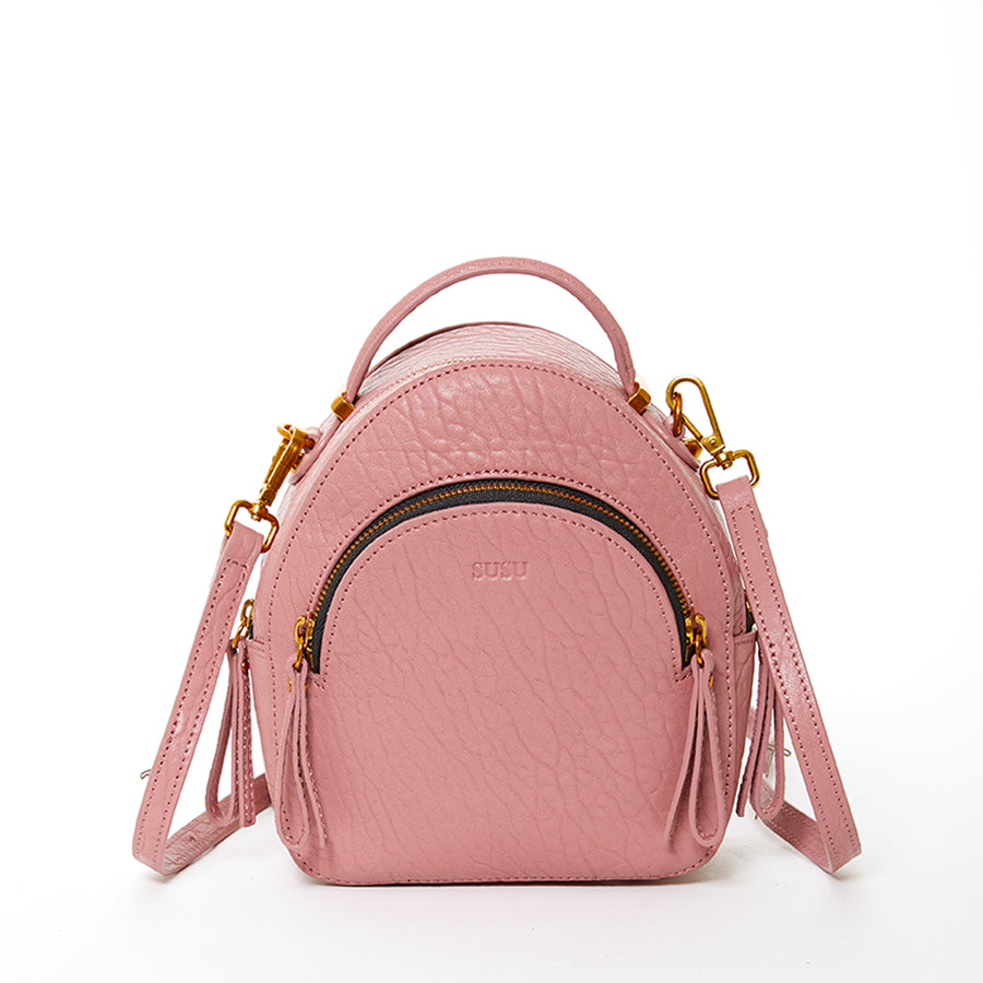 dusty pink leather backpack
