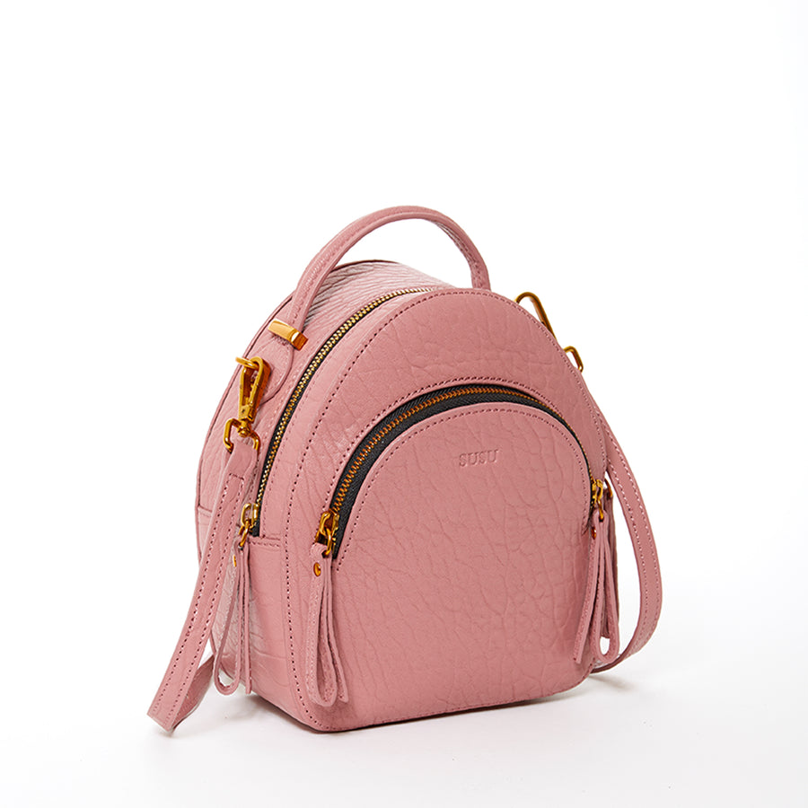 dusty pink leather backpack purse