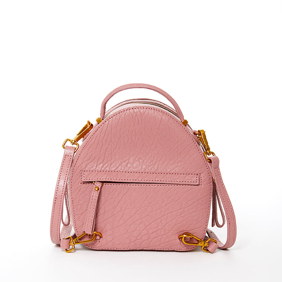 pink small leather backpack