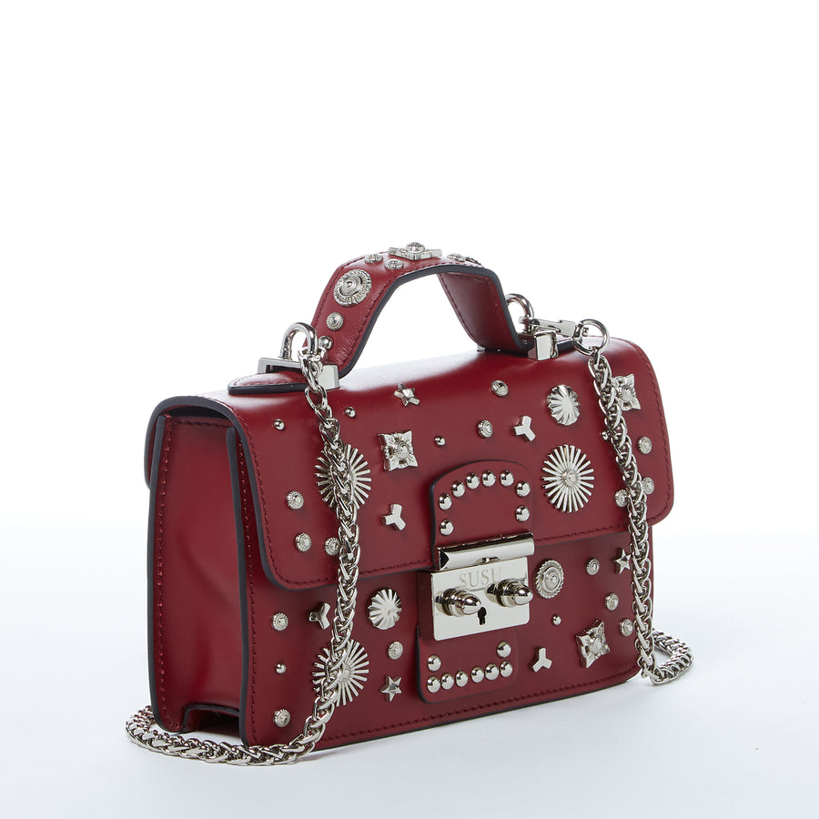 Maroon Leather Studded Purse | SUSU Handbags