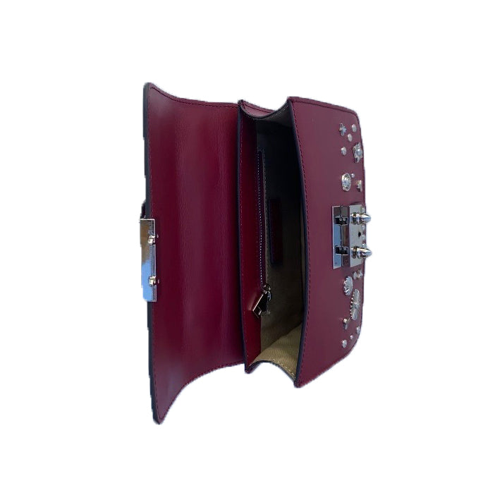 Burgundy Leather Studded Crossbody Bag | SUSU Handbags