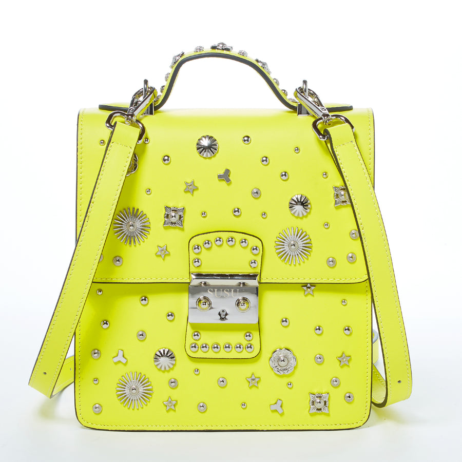 Yellow Leather Studded Backpack