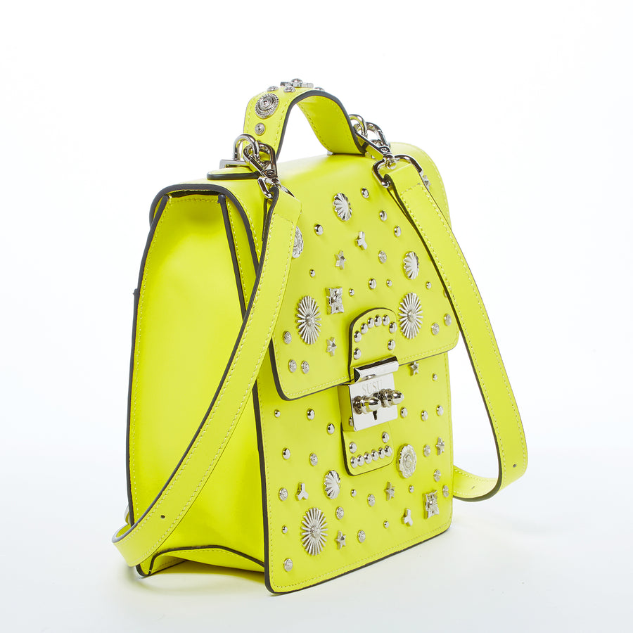 Studded Yellow Fashion Backpack