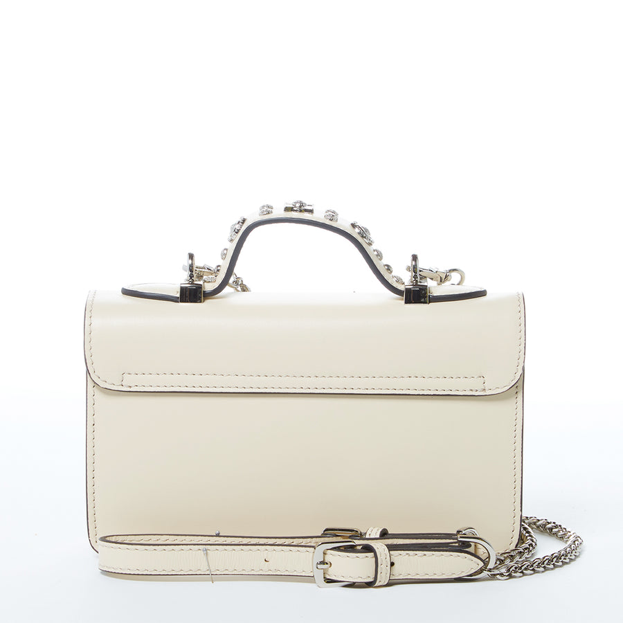 Off white studded leather crossbody bag | SUSU Handbags