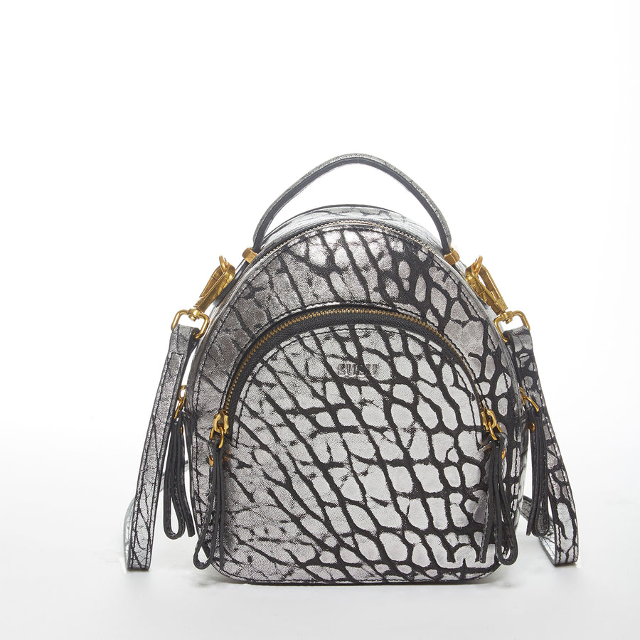 gray leather backpack | SUSU Handbags