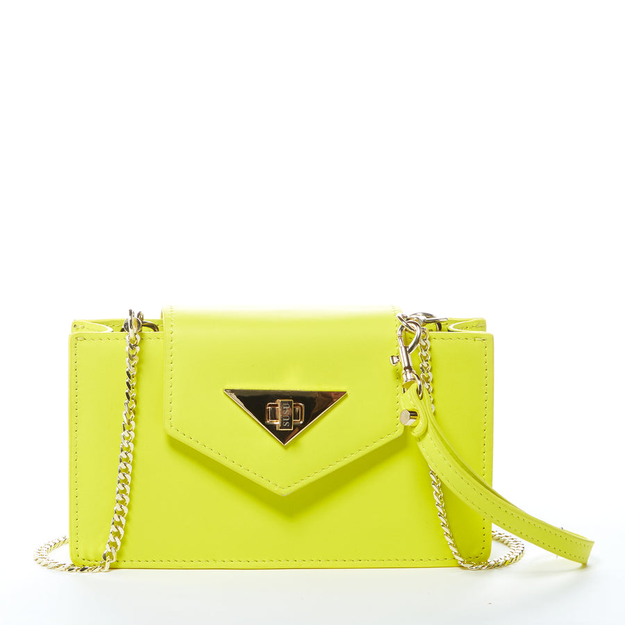 Yellow Leather Crossbody Wristlet | SUSU Handbags