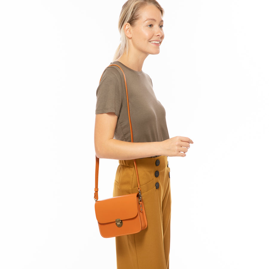 Orange Leather Camera Bag