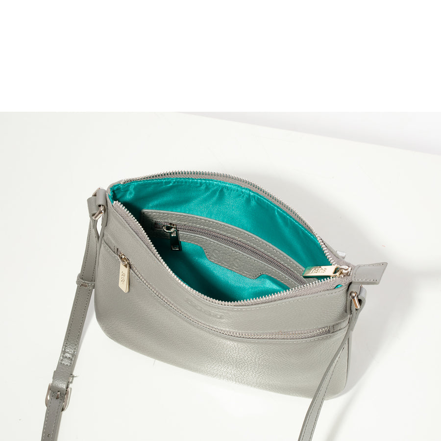 gray leather crossbody bag lining