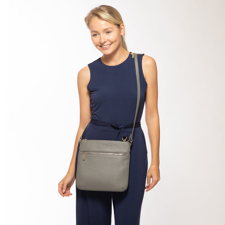gray leather crossbody bag