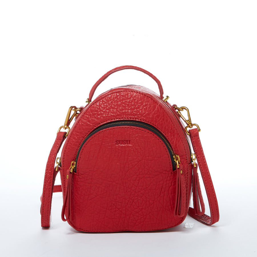 Red Leather Backpack Purse | SUSU Handbag