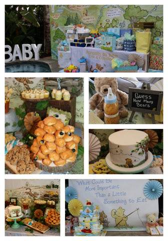 Vintage Winnie The Pooh Baby Shower Using Backdrops To