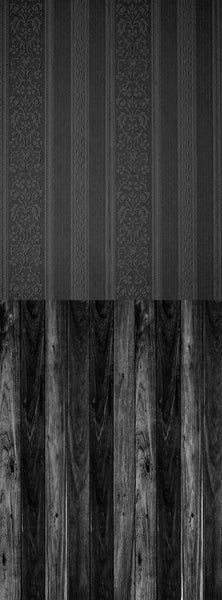 S103 Midnight Black Wood Grey Floral Paper Switchover Backdrop - Backdrop Outlet