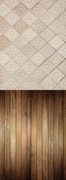 S104 Egg Shell Tiled Chestnut Bisque Wood Switchover Backdrop