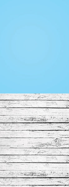 S126 Cerulean Blue Gradient Stone Washed Plank Wood Switchover Backdrop