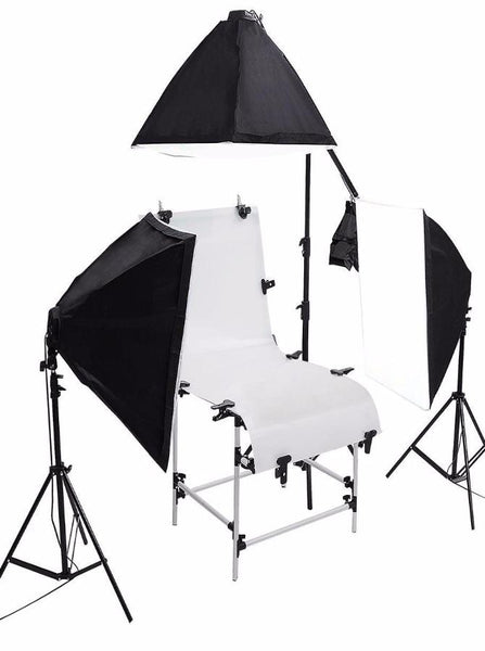 Product Photography Shooting Table 3 Softbox 12 Bulb Light Kit With Stands and Boom Photo Equipment  SC1028 - Backdrop Outlet