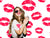 Lipstick Kisses Red Lips Printed Backdrop - 15166