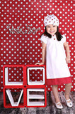 "AB852 Poly Pattern Red With White Polka 1"" Dots 5x9 Background - Backdrop Outlet - 2"