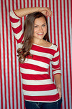 AB857 Poly Pattern Red 5x9 Stripes Background - Backdrop Outlet