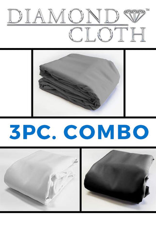 COM003A 3 PC GREY, BLACK AND WHITE 10x20 DIAMOND CLOTH COMBO - Backdrop Outlet