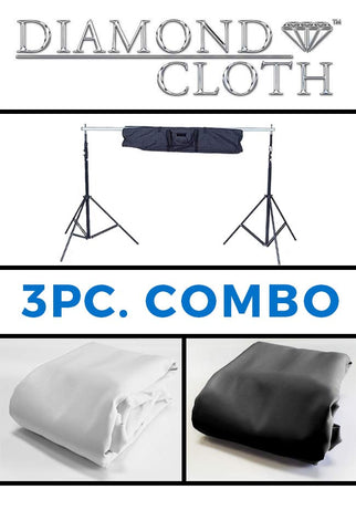 COM137 Combo 10x10 White & Black Diamond Cloth Backdrops  With Background Stand - Backdrop Outlet