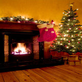 x067 Christmas Tree Fire place Wood Backdrop - Backdrop Outlet