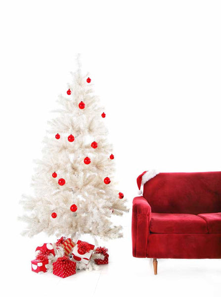 x068 White Red Christmas Tree Backdrop - Backdrop Outlet