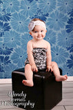 Empire Blue Flowers Printed Photography Backdrop - 1083 - Backdrop Outlet