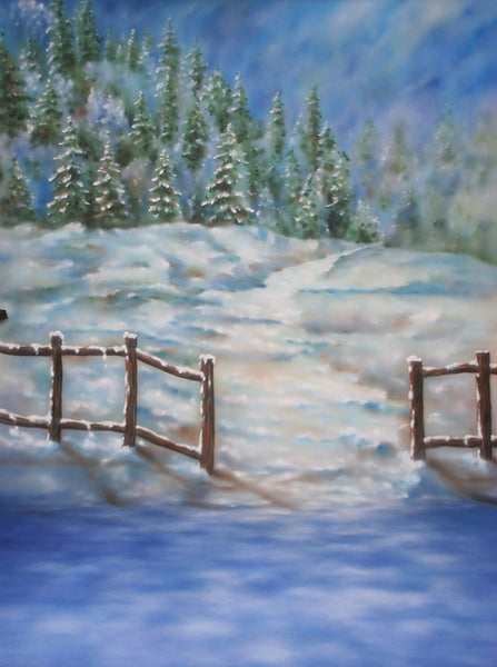 Printed Muslin Scenic Holiday Pine Tree Mountain Snow Frozen Lake Backdrop - 109-13