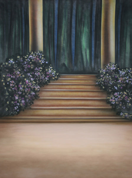 Printed Muslin Scenic Floral Pillar Stage Stairs Backdrop - 109-14